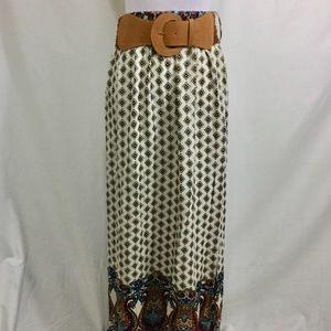 FOREVER 21 Maxi Skirt with Belt side slits BOHO